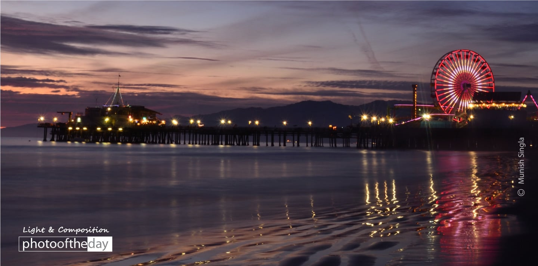Santa Monica Pier at Night, by Munish Singla