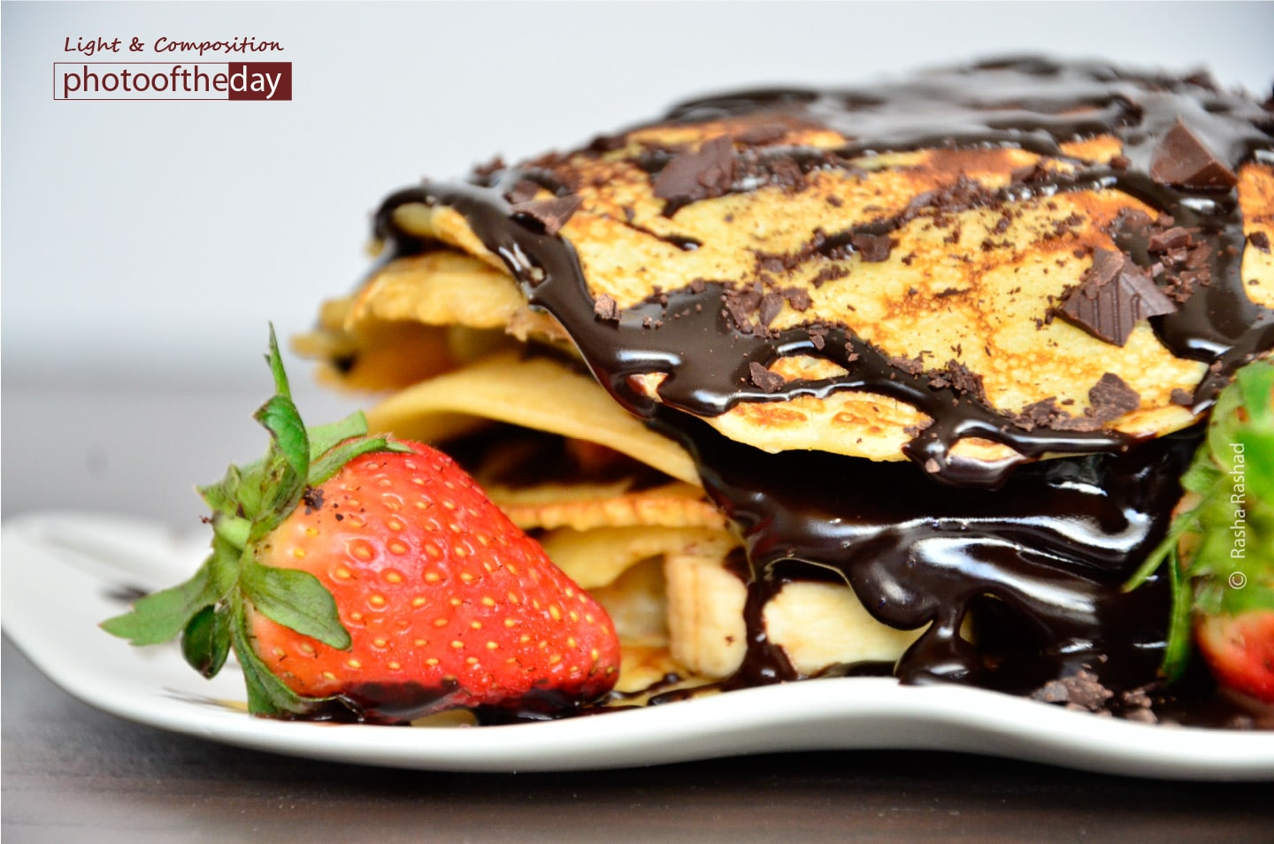 Strawberry and Chocolate Pan-crepe, by Rasha Rashad