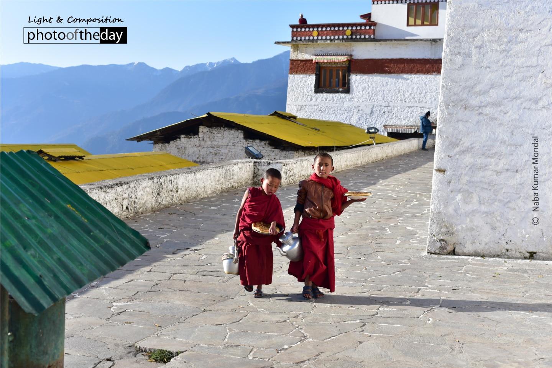 Tea Break with Little Monks, by Naba Kumar Mondal