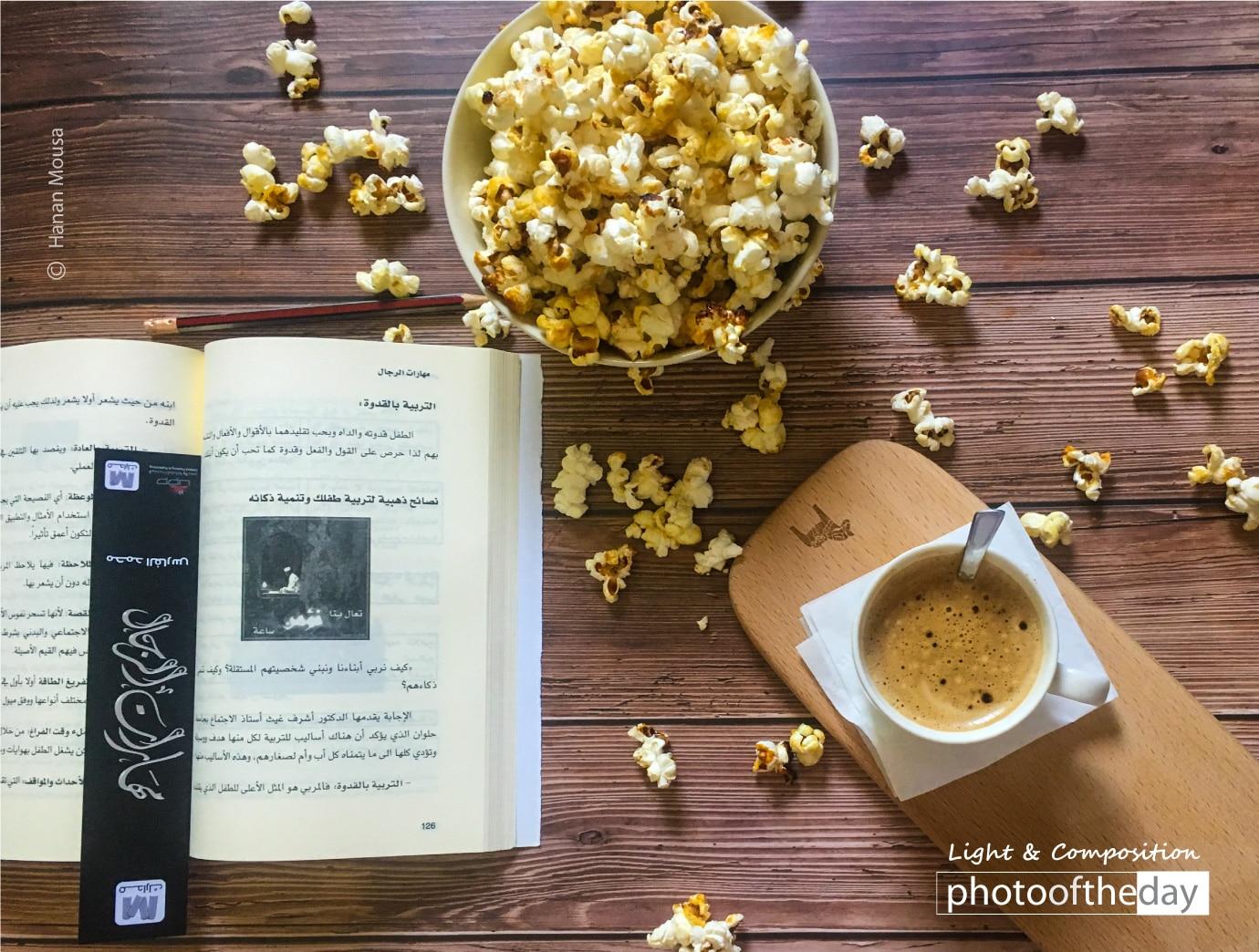 Popcorn and coffee by Hanan AboRegela