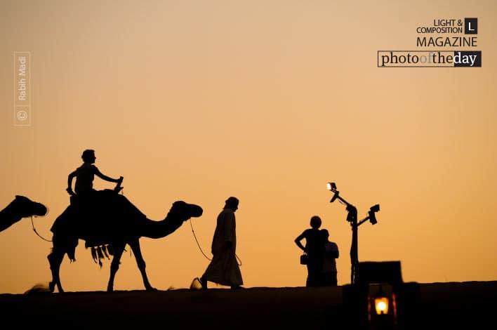 Sunset Camel Ride, by Rabih Madi