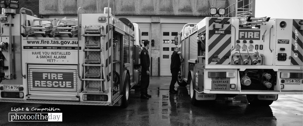 Firefighters Checking Truck, by Blair Horgan