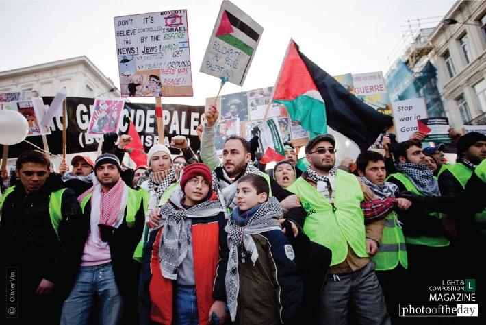 Demonstration for Gaza in Brussels, by Olivier Vin