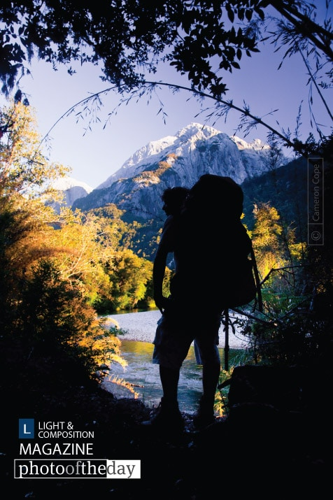 Cochamó Hiker Silhouette, by Cameron Cope
