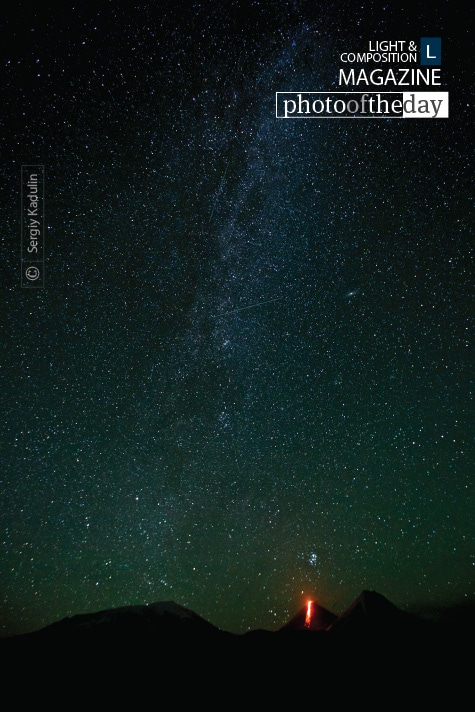 Starry Night and the Erupting Volcano, by Sergiy Kadulin