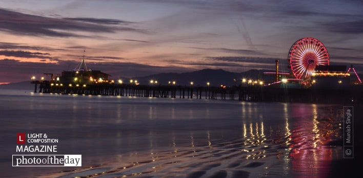 Santa Monica Pier at Night, by Munish Singla