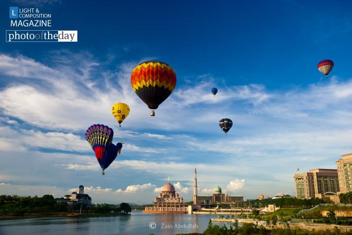 Hot Air Balloons Flying over Putrajaya, by Zain Abdullah