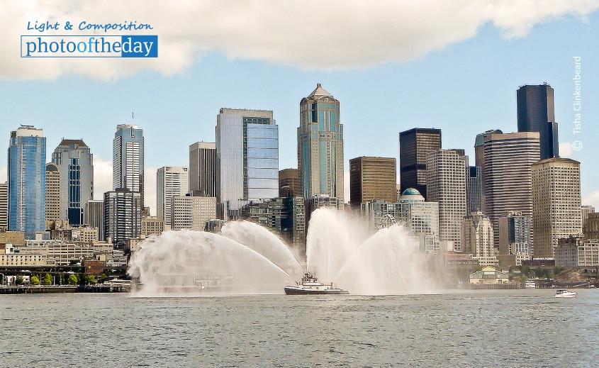 Fireboat and Seattle Downtown, by Tisha Clinkenbeard
