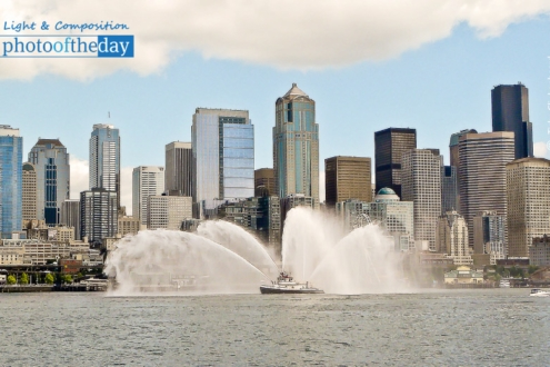 Fireboat and Seattle Downtown, by Tisha Clinkenbeard