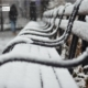 Snow Covered Benches, by Des Brownlie