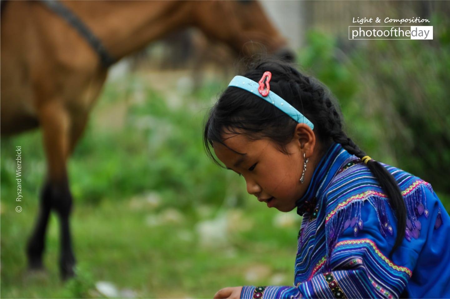 A Sapa Girl and a Horse by Ryszard Wierzbicki
