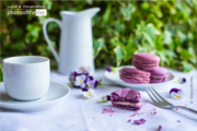 Violet Macarons and a Coffee Cup by Barbara Martello